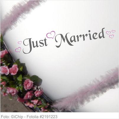 Autoaufkleber Hochzeit Just Married mit Herzen XL 2-farbig