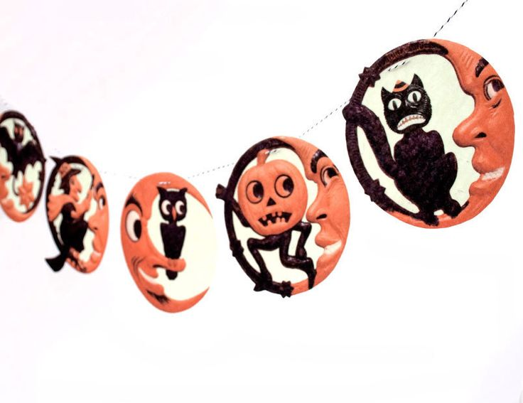 Vintage Halloween Banner - man-in-the-moon photo reproductions - German die-cuts - 2D vintage Halloween decor by RawBoneStudio on Etsy https://www.etsy.com/listing/99626056/vintage-halloween-banner-man-in-the-moon