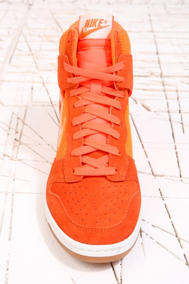Nike Orange Sky Hi-Top Mesh Dunk Trainers at Urban Outfitters