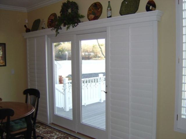 window treatment idea for patio door sliding shutters instead of curtains walk out room