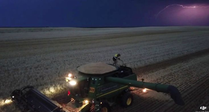 Aussie Farmer Goes Viral For Dancing On His Combine Harvester During Crazy Lightning Storm
