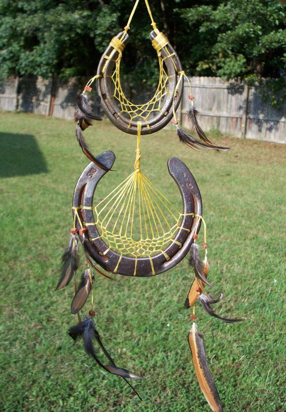 Two Tiered Horse Shoe Dreamcatcher with Goldstone. Dream Catcher for Healing