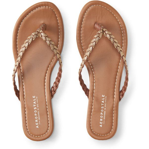 Aeropostale Braided Glitter Flip-Flop (£9.83) ❤ liked on Polyvore featuring shoes, sandals, flip flops, gold, braided strap sandals, glitter sandals, sparkly sandals, braided sandals and strap sandals
