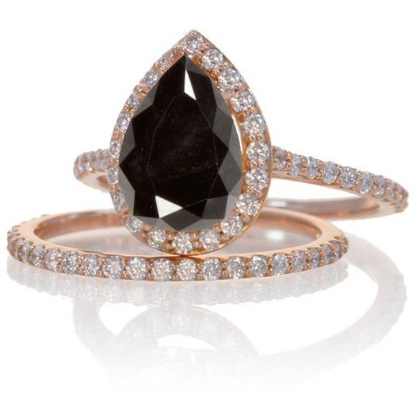 2 Carat Black Diamond and Diamond Halo Bridal Ring Set on 10k Rose... (715 CAD) ❤ liked on Polyvore featuring jewelry, rings, rose gold ring, vintage wedding rings, black diamond ring, vintage engagement rings and bridal rings