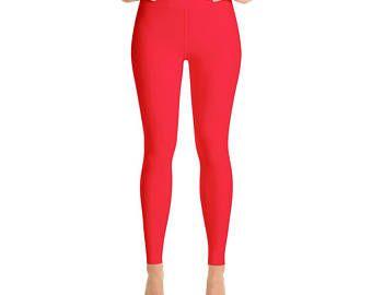 Red Yoga Leggings,Capri Yoga Pants, Sport Stretch Leggings, Fitness Workout Yoga Pants Joggers Active, Solid Colors  Leggings