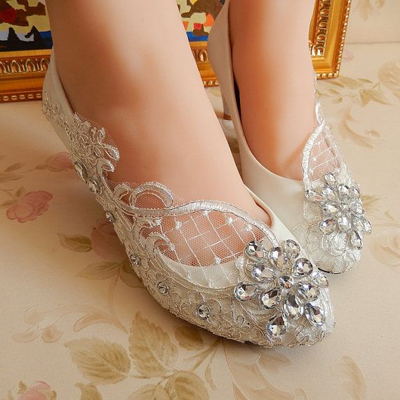 Handmade White lace Pearl wedding shoes by weddingdressoverture, $55.99
