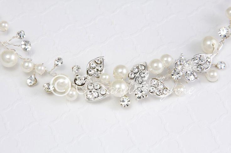 Bridal Hair Vine of Leaves and Ivory Pearls