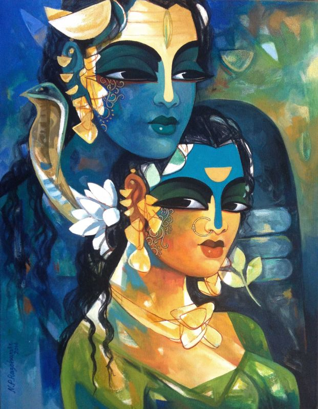 "Shiva100 by NP Razeshwarr Acrylic On Canvas Size: 14"" X 18"" Price: INR 17,000 / $312                                                                                                                                                      More"