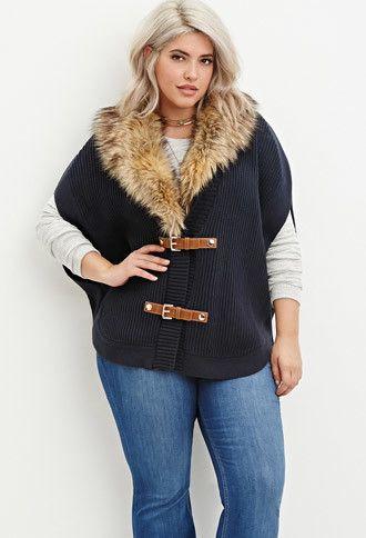 Plus Size Faux Fur Poncho Sweater | Forever 21 PLUS - 2000171980