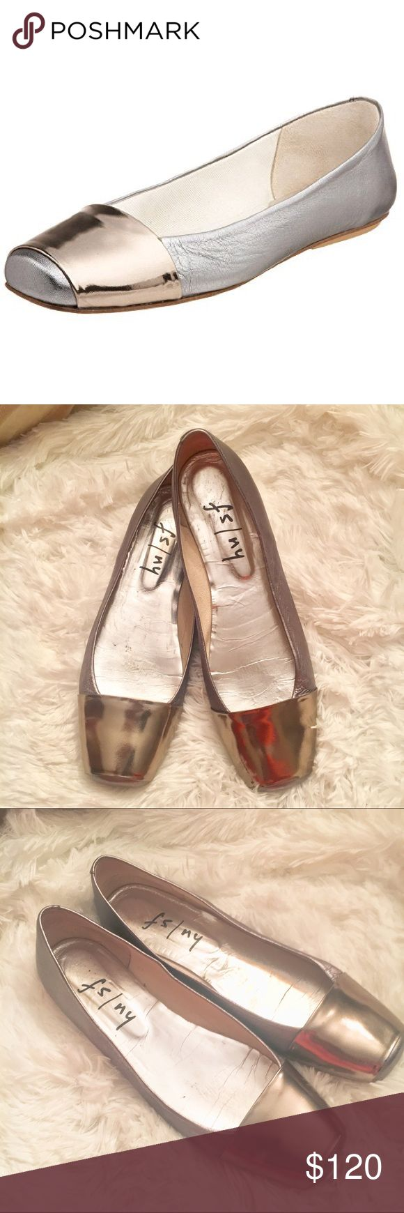 "French Sole FS/NY Women's Via Flat Leather Leather sole Heel measures approximately 1/8"" A wide band of bright metallic leather lends a futuristic vibe to this square-toe ballet flat.  Good Condition few minor flaws see picture FS NY Shoes Flats & Loafers"