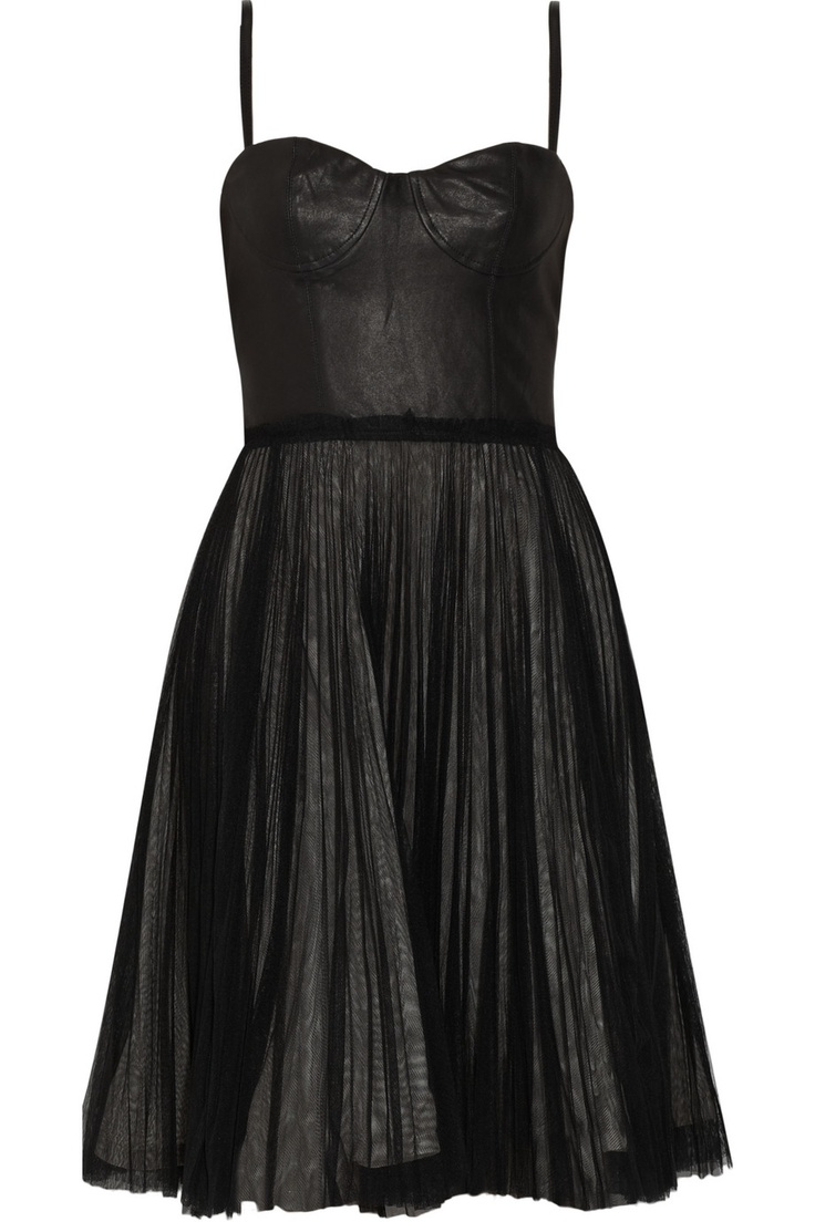 Alice + Olivia - Leather and Tulle Dress