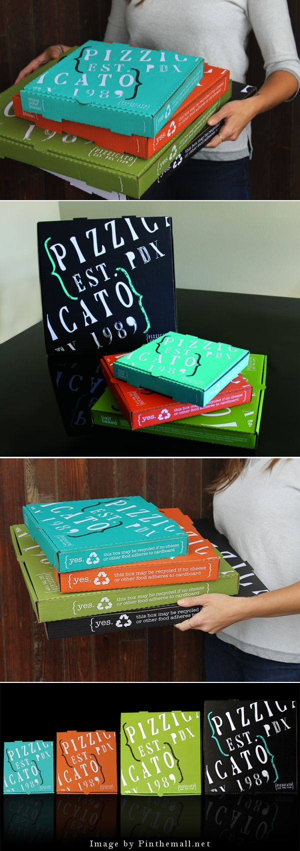 I want this. I love this. Color, font, design is all happening for me. Pizzicato Pizza Box #thinkfast