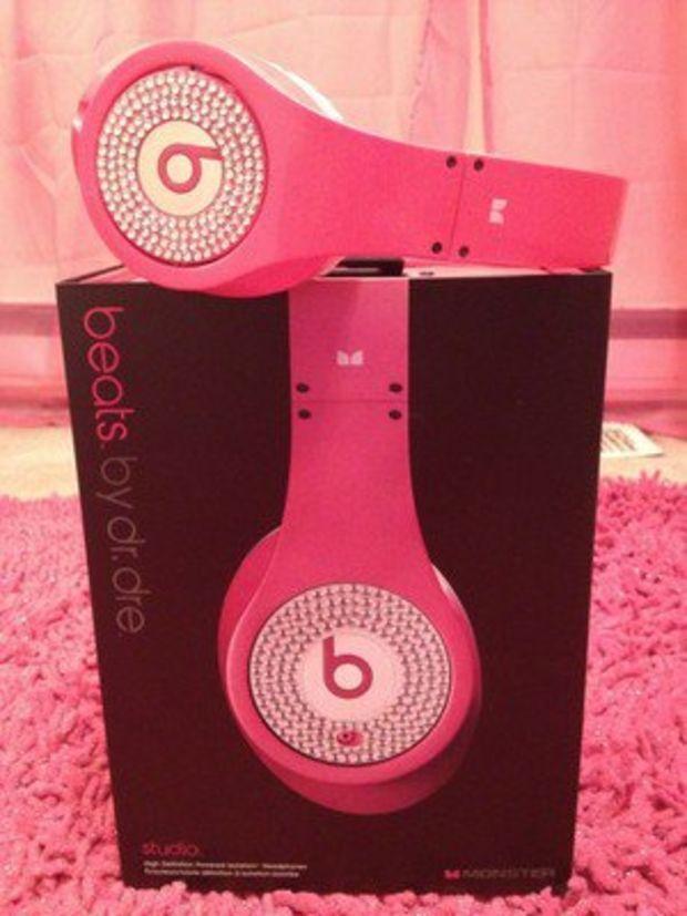 RARE Pink Studio Beats by Dr. Dre Headphones w/ Rhinestones
