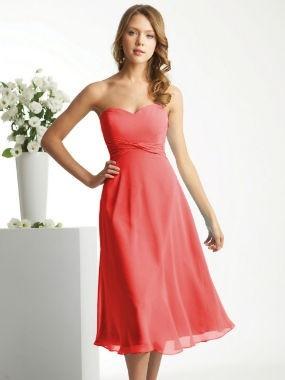 Bridesmaid Dress: Coral