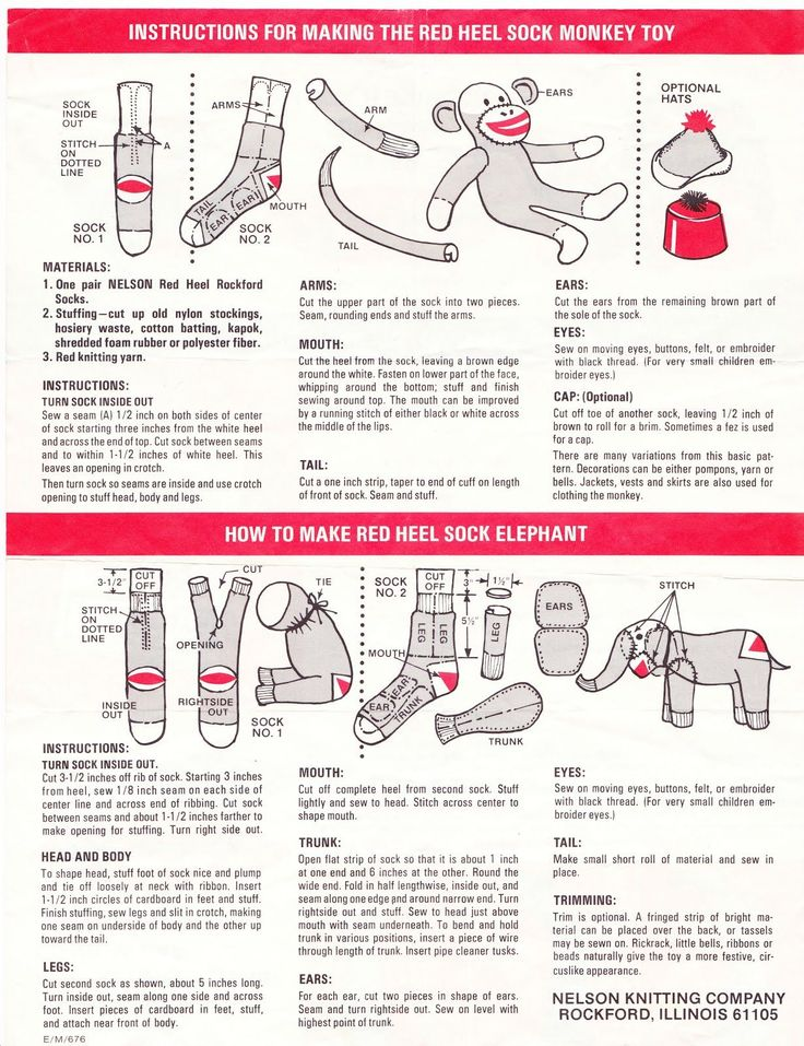 Papergreat: How to make the Red Heel Sock Monkey and Sock Elephant