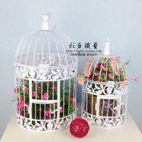 hierro antiguo conjunto blanco de decorativa de metal birdccage jaula de pjaros de la boda
