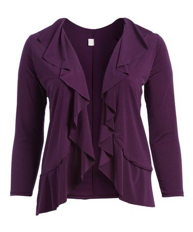 Another great find on #zulily! Eggplant Ruffle Open Cardigan - Plus #zulilyfinds