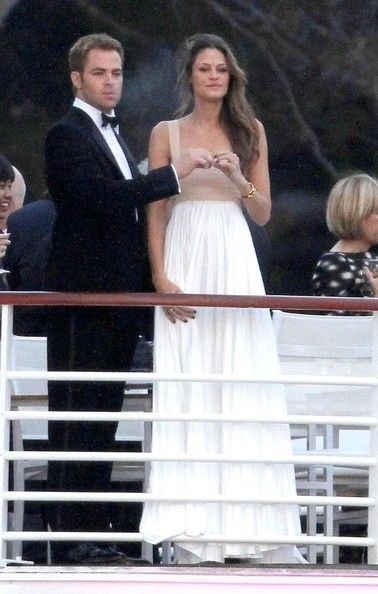 Chris Pine Photos Photos - Chris Pine shares a cigarette with his supermodel girlfriend, Dominique Piek on the balcony of the Hotel du Cap Eden Roc while attending the Vanity Fair And Gucci Party during the 65th Annual Cannes Film Festival. - Chris Pine and Dominique Piek Hang Out at Cannes