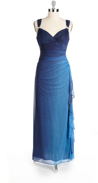 Betsy & adam Glittering Ombre Gown in Blue (NAVY BLUE)