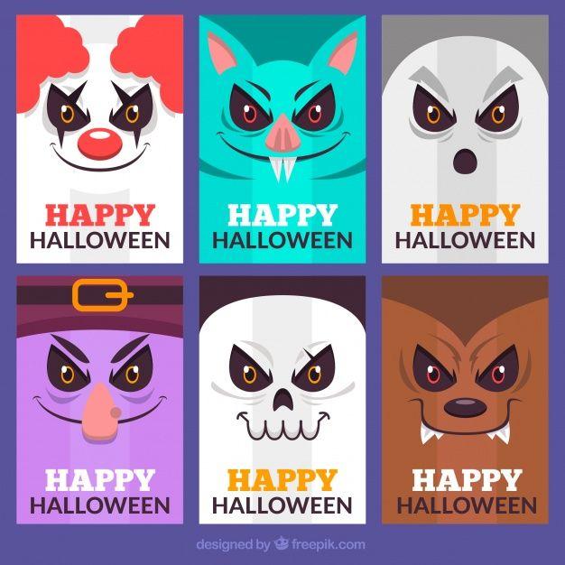 Cartões de Halloween com rostos assustadores Vetor grátis