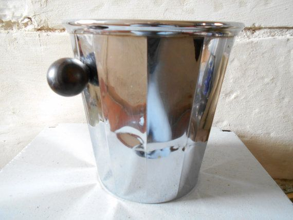 Mid century French wine bucket, wine cooler, Champagne bucket, fluted shape and wooden handles chilling bucket.