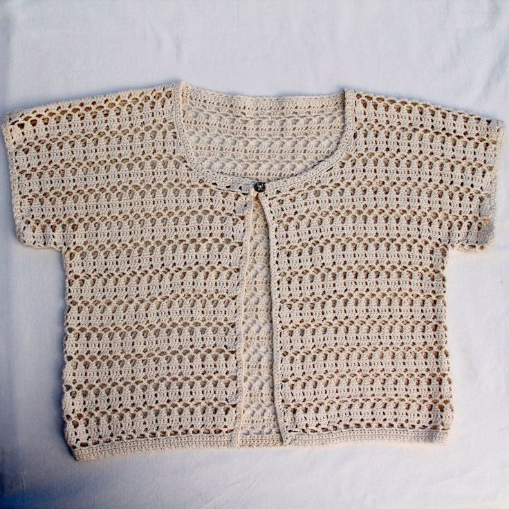 Cotton Crochet Cream Waistcoat Vest 36in Chest M Excellent