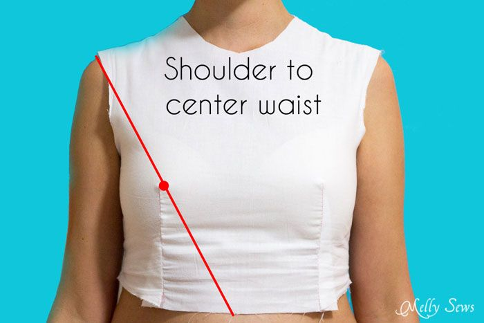 Measure Shoulder to Center Waist Front - Melly Sews