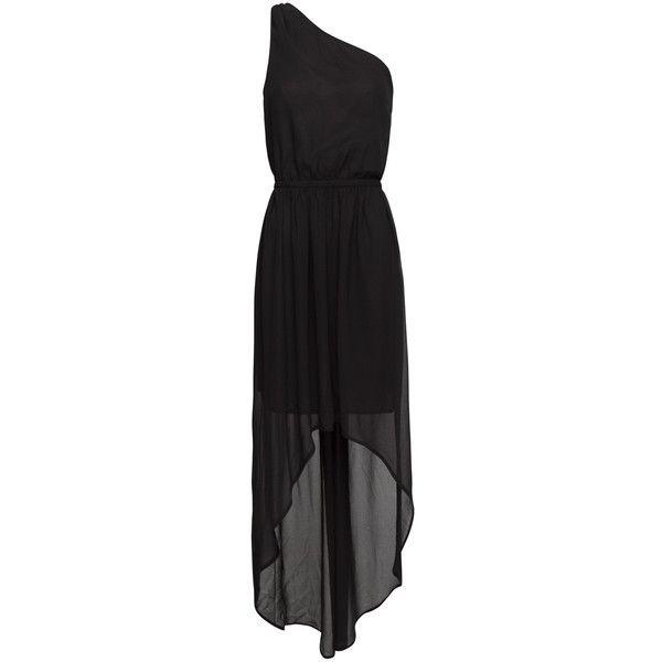 One Shoulder Tail Hem Dress ❤ liked on Polyvore