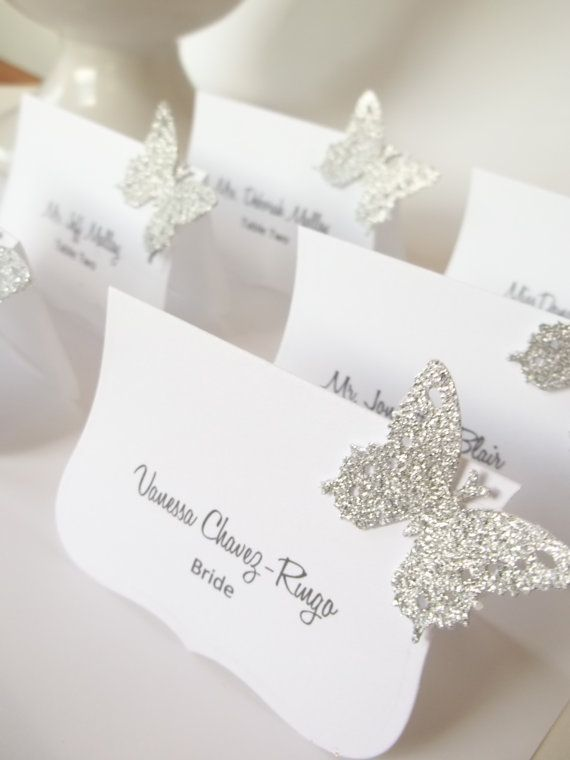 Luxe Wedding Butterfly Place Cards  Name Cards  by LillyThings, $0.99  Etsy.com These butterflies will go on the corner of the name place cards you create using the Flemish script font.