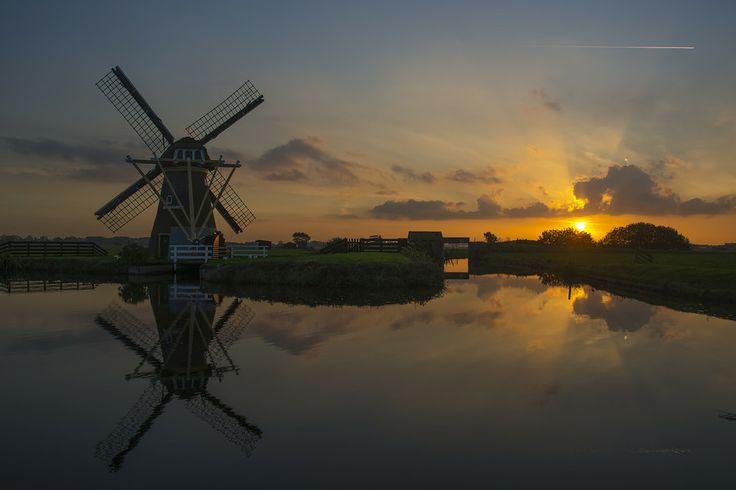Dutch sunset landscape