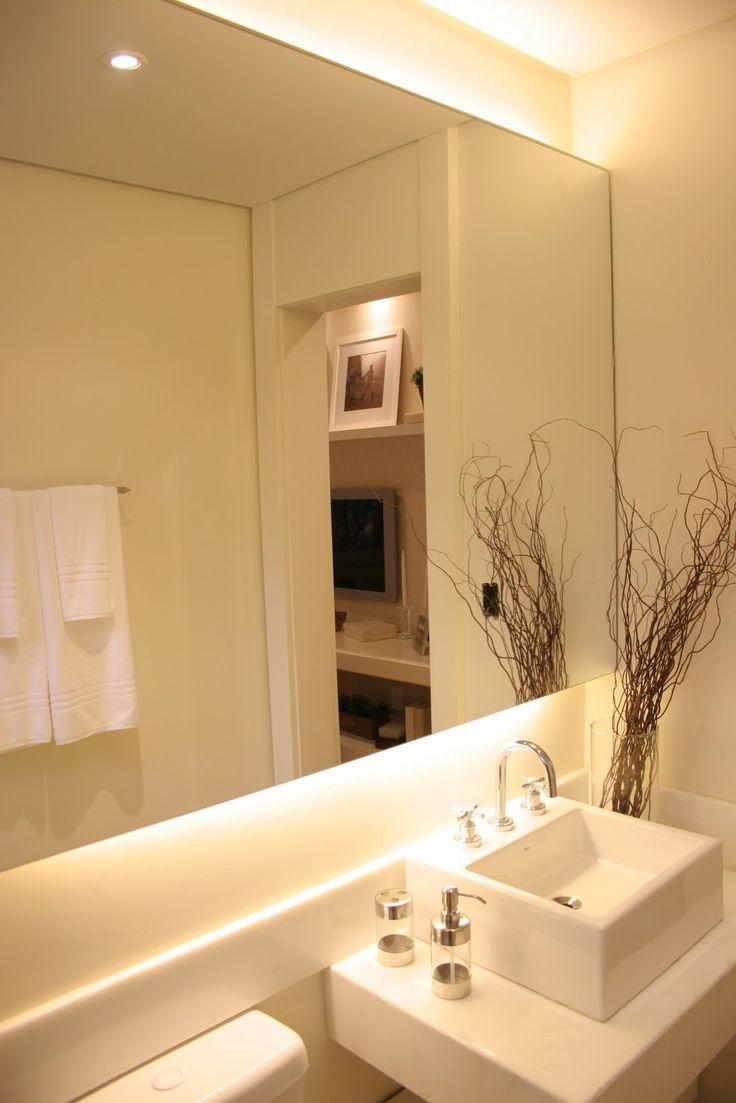 fita de led atrás do espelho do banheiro  Pesquisa Google  Decoração  Pint -> Banheiro Decorado Com Luminaria