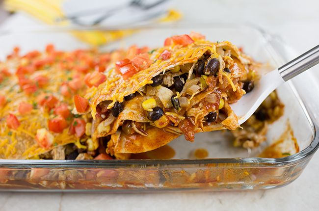 Chicken Enchilada Casserole (1/8 of 9x13 = 311 calories, 86 cal. from fat, 1079 mg sodium)