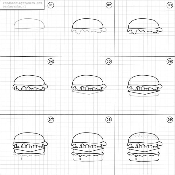 How to draw a burger.