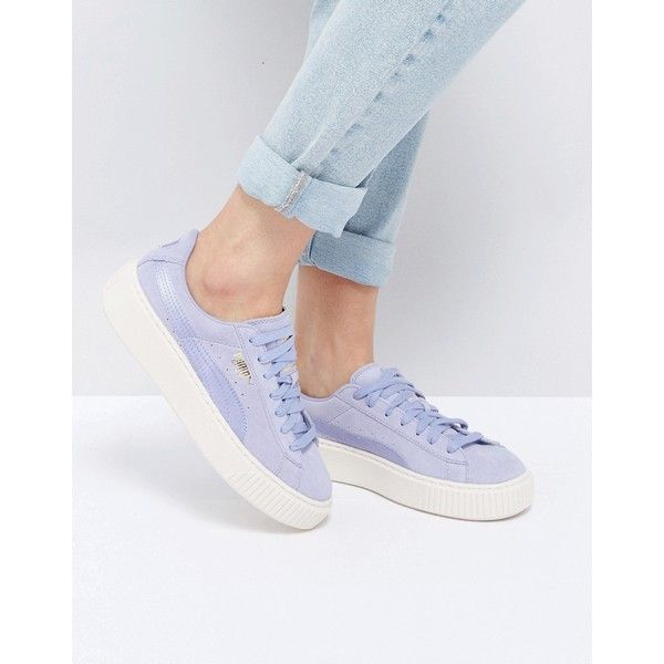 Puma Suede Satin Platform Sneakers in Lilac (445 BRL) ❤ liked on Polyvore featuring shoes, sneakers, purple, platform trainers, lace up sneakers, purple suede shoes, platform lace up shoes and puma sneakers