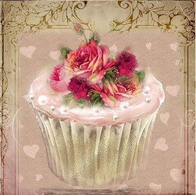 A WhimsyDust Affair  cupcake with roses on top