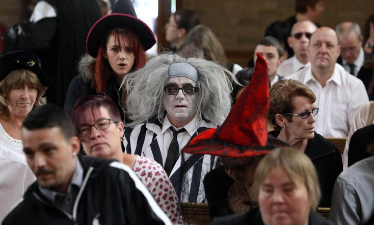 Darth Vader and Beetlejuice among mourners at Halloween-themed funeral