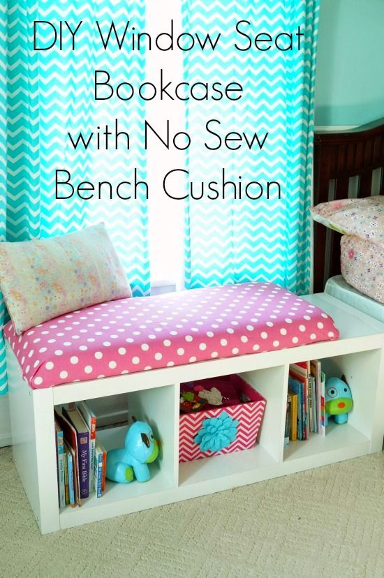 diy window seat bookcase with built in storage and no sew cushion - Kids Room Storage Bench