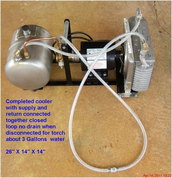 TIG Torch Cooler by acourtjester -- Homemade TIG torch cooler constructed from an electric motor, pump, small tank, hose, and an automotive AC condenser. http://www.homemadetools.net/homemade-tig-torch-cooler-3