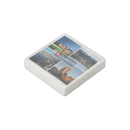 CH Switzerland - Zurich - at night - Feldbach Stone Magnet - home gifts ideas decor special unique custom individual customized individualized