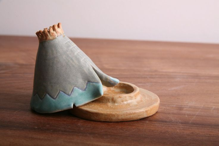 Incense Burner Teepee That Smokes Ceramic Mint Green And