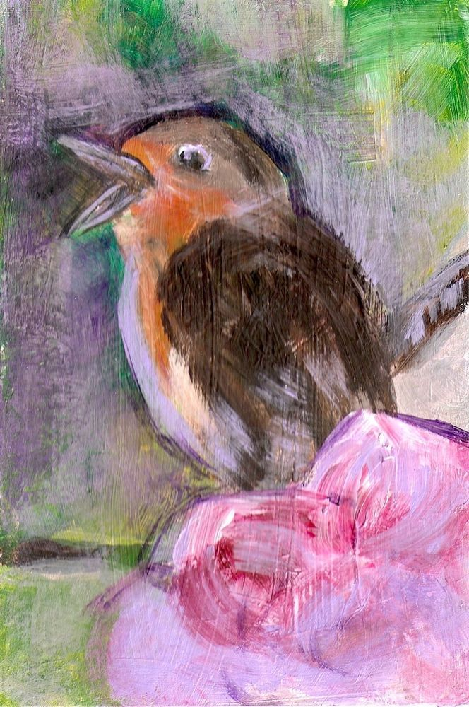 4x6 Baby Robin Blossoms tree Bird Painting Original Art by Penny Lee StewArt #ContemporaryArt