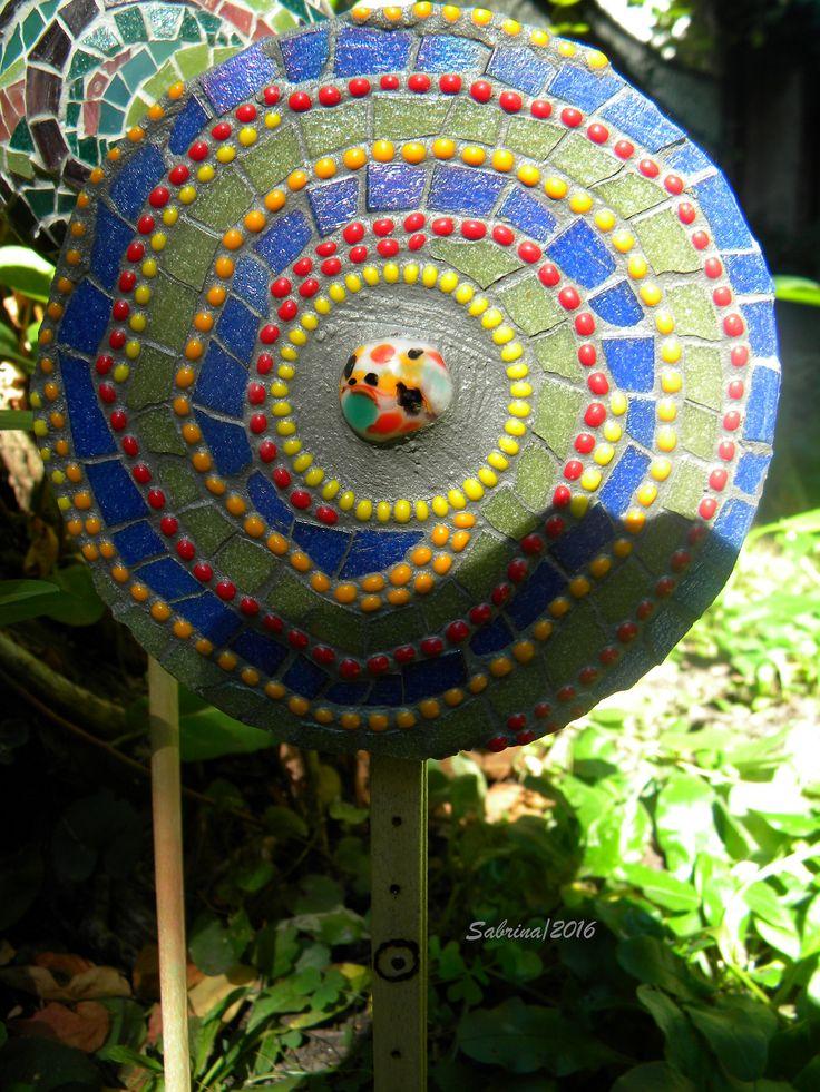 mosaico giardino, vetro su CD