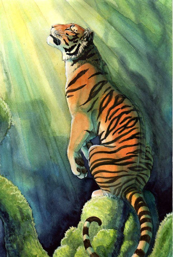 One of my favorite Tiger Paintings!! The best commissioned art comes when you give an artist an idea and let them interpret it!! Bengal by `hibbary on deviantART