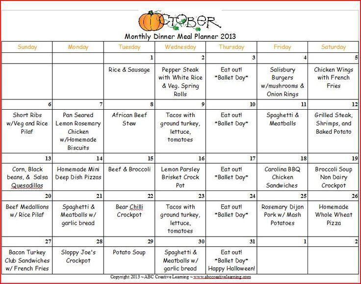 October Monthly Menu Plan