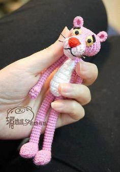 free pattern pink panther,amigurumi pembe panter yapılışı, örgü oyuncak pembe panter