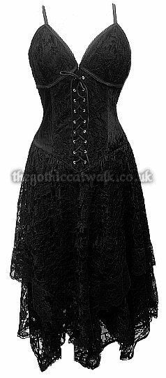 Black Lace & Velvet Gothic Corset Dress