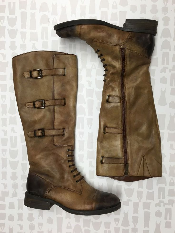 Vince Camuto Womens Ombré Brown Leather Lace Up Strap Riding Boots Size 9   eBay