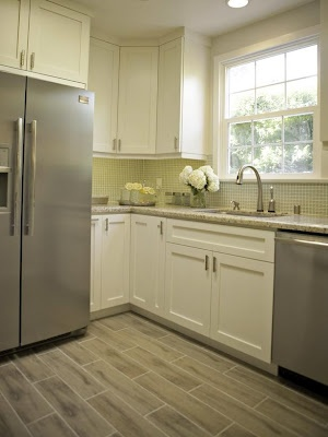 We will be painting our kitchen. I like seeing white with this color floor, similar to what we have.  Also shows what our window could look like without the wood valence.