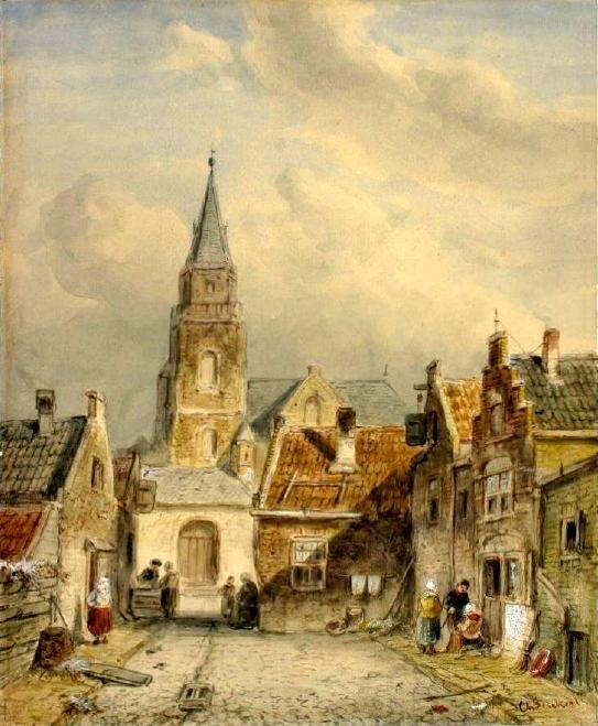 Charles Henri Joseph Leickert (1816-1907) De Jacob Pronkstraat geschilderd in 1850. Links en rechts de Torenstraat, de huidige Jacob Pronkstraat gezien naar de Oude Kerk. Het schilderij geeft een geromantiseerd beeld van de Torenstraat met op de achtergrond de Oude Kerk aan de Keizerstraat. De kerk heeft links nog een zijbeuk, die op afbeeldingen na ca. 1750 niet meer voorkomt.