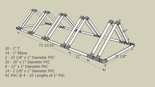 Large preview of 3D Model of Triangle PVC Bike Rack